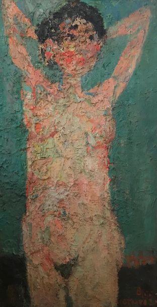 André COTTAVOZ (1922-2012) Nu aux bras levés Huile sur toile d'origine 80x43 cm...