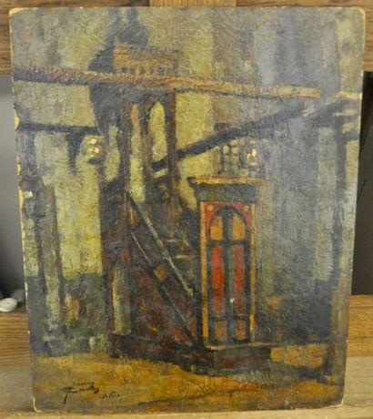 Attribé à Herman COURTENS (1884 - 1956) L'interieur de la maosquée, le Caire Huile...