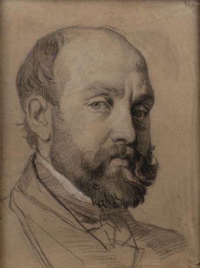 Thomas COUTURE (1815-1879) Portrait d'homme Craie noire et pierre blanche sur papier...