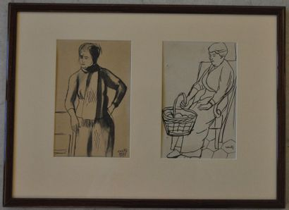 Jean COUTY (1907 - 1991) Two studies of Characters (in the same frame) Ink on paper,...
