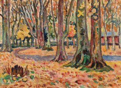 Henri de SAINT DELIS (Hesdin 1878 - Honfleur 1949) Chapelle dans un sous-bois Aquarelle...