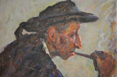 Henriette DESPORTES (1877-1951) Fumeur à la pipe Huile sur toile découoée à bors...