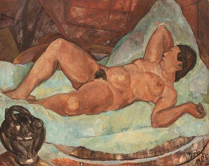 Doda (Actif au XXe siècle) Nu de femme allongé...