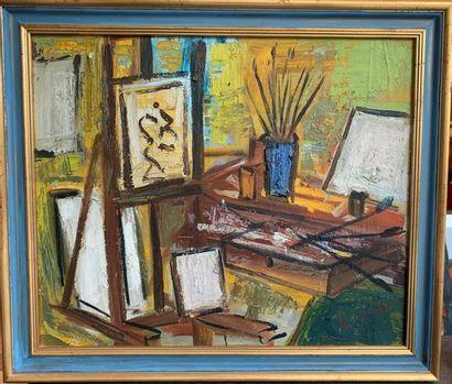 Roland DUBUC (1924-1998) L'atelier Huile...