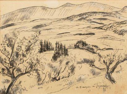 André DUNOYER de SEGONZAC (1884-1974) Paysage...