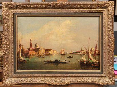 Ecole ITALIENNE du XX ème siècle Vue de Venise Huile sur toile rentoilé 41 x 62...