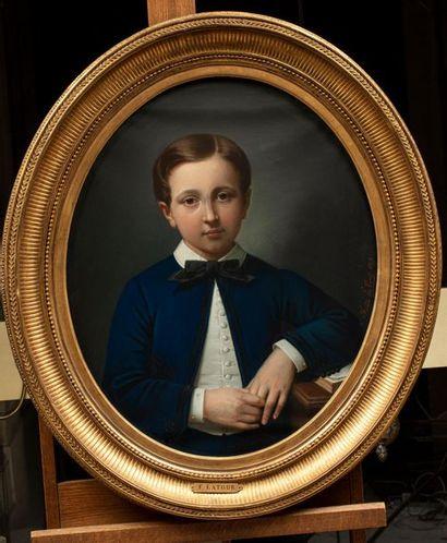 Théodore FANTIN-LATOUR (Metz 1805-Paris 1875) Portrait de jeune garçon Pastel à...