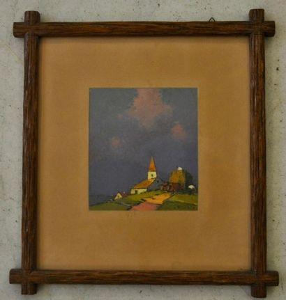 Frédéric FIEBIG (1885 - 1953) Paysage Huile sur carton 16 x 14 cm Signbé en bas...