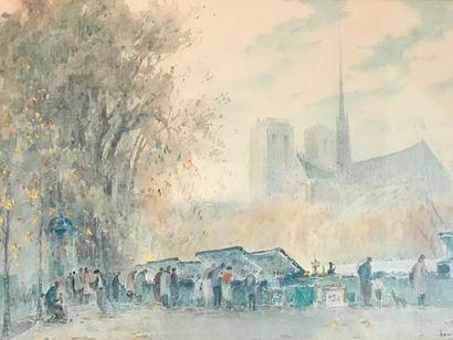 Henri FOREAU (Paris 1866 - 1938) Les bouquinistes...