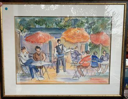 Catherine GARROS (Née en 1954) La terrasse...