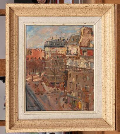 Paul HANNAUX (Paris 1899 - Luxembourg 1954) Boulevard Saint Milchel Huile sur isorel...