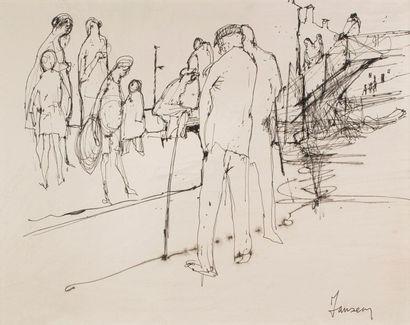 Jean JANSEM (1920-2013) Place de village...