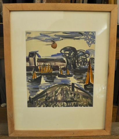 Isis KISCHKA (Paris 1908 - 1973) Boats on the river Gouache on paper 26 x 23 cm...