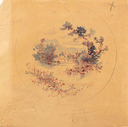 Paul LANGLOIS (1858-1906) Village sur un...