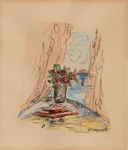 Pierre LAPRADE (Narbonne 1875- Fontenay aux Roses 1931) Vase of roses next to a...