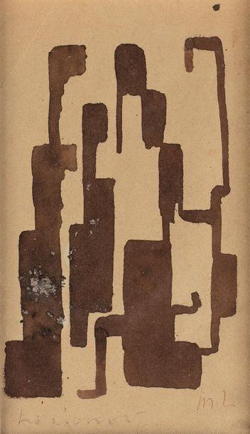 Attribué à Michel LARIONOV (1881-1964) Composition abstraite Encre sur papier, signé...