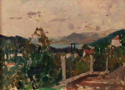 Paul- Emile LECOMTE (Paris 1877 - 1950) Paysage...
