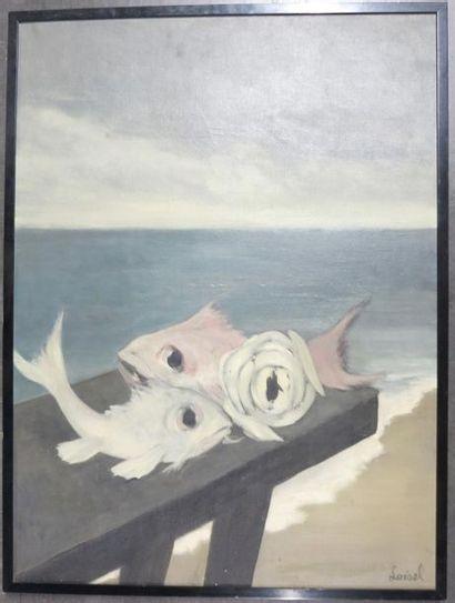 LOISEL (Actif au XX ème siècle) Deux poissons Huile sur toile d'origine 81 x 60...