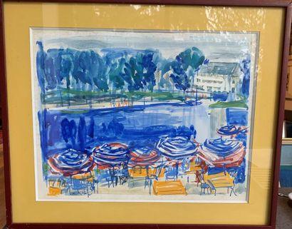 Pierre LONGCHAMP Lac en été Aquarelle et...