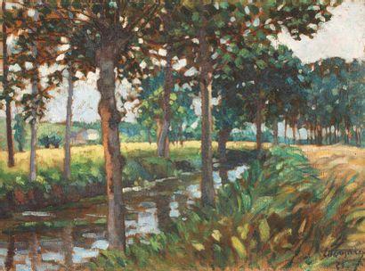 Ivan LUKOMSKY (1897-1965) Paysage à la rivière...