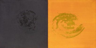 V. MOUNICOT Composition or et noire Acrylique...