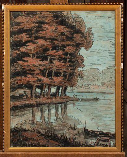 Jean PESKE (Golta 1870 - Le Mans 1949) Paysage au bord de l'eau Aquarelle sur papier...