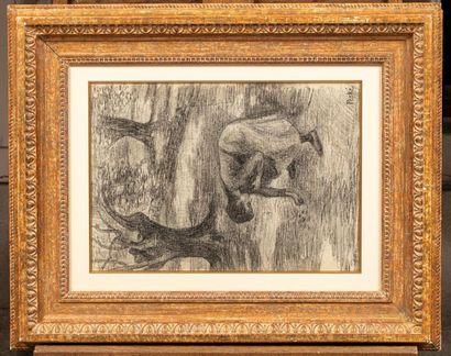 Jean Misceslas PESKE (Golta 1870 - Le Mans 1949) La récolte des olives Crayon sur...