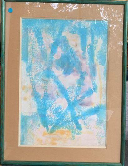 Hans PFEIFFER (1907 - 1994) omposition bleue Technique mixte sur papier 47 x 32...