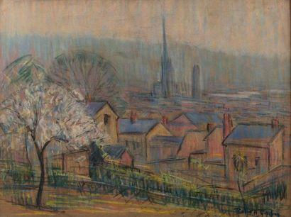 Robert Antoine PINCHON (Rouen 1886-1943) Vue de Rouen Pastel sur papier 47 x 61...