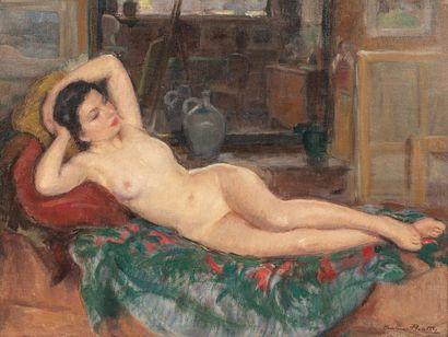 Madeleine PLANTEY Nu dans l'atelier Huile...