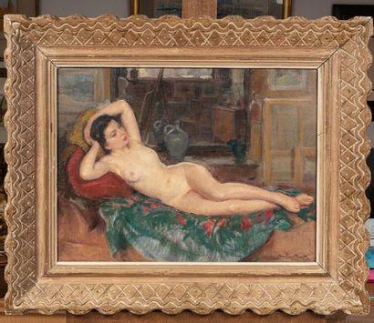 Madeleine PLANTEY Nu dans l'atelier Huile sur toile d'origine 47 x 61 cm Signé en...