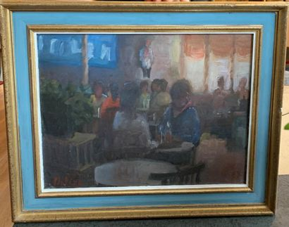 Mario PLATERO (1942 - 2002) Coffee Oil on cardboard 26,5 X 34 cm Signed lower left...