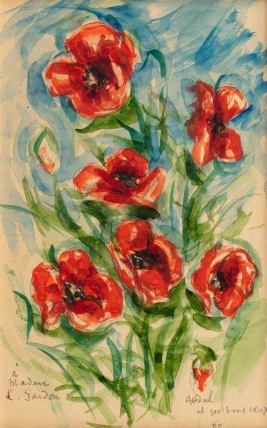 ABDOUL Bouquet de coquelicots, 1960 Aquarelle...