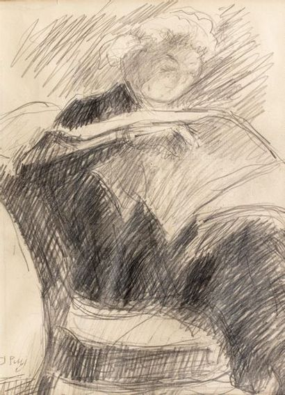 Jean PUY (Roanne 1876 - 1960) Woman reading Pencil on paper 22,5 x 16 cm Signed...