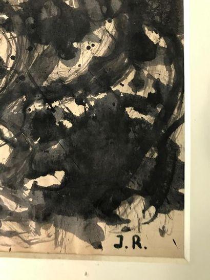 Jean RAINE (1927-1986), Composition Encre sur ppaier 30 x 20 cm Monogrammé en bas...