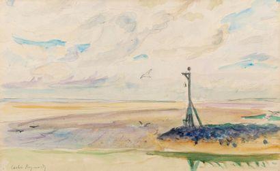 Carlos REYMOND (Paris 1884-Nice 1970) Plage Aquarelle sur traits de crayon sur papier...