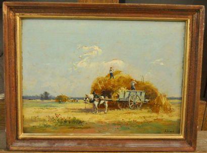 RICARD (Actif au XX ème siècle) Les foins Huile sur panneau 23,5 x 33 cm Signé en...