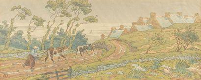 Henri RIVIERE (1864-1951) Vachère et troupeau...