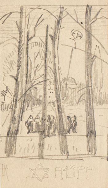 Ludovic RODO - PISSARRO (Paris 1878 - 1952) Personnage sur une place Crayon sur...