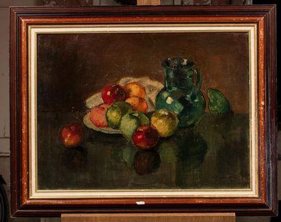 Vladimir ROZMAINSKY (Tiflis 1885 - Paris 1943) Composition aux pommes et à la cruche...