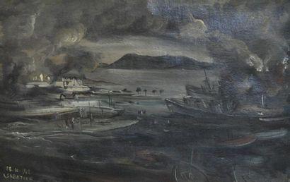 Léon SABATIER (1891 - 1965) Port en Provence...