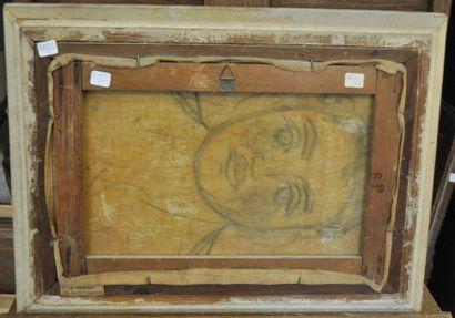 Léon SABATIER (1891 - 1965) Port en Provence Huile sur toile d'origine 27 x 41 cm...