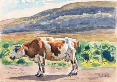 René de SAINT-DELIS (Saint Omer 1876 - Etretat 1958) La vache Aquarelle et encre...