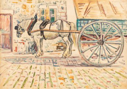 Henri Liénard de SAINT-DELIS (Marconne 1878- Honfleur 1949) La charrette Aquarelle...