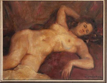 J. SANTANIOZ Active in the twentieth century Lying nude Oil on original canvas 73...