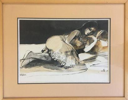 Ruth SCHLOSS (1922 - 2013) Femme allongée Technique mixte sur papier 27 x 38 cm...