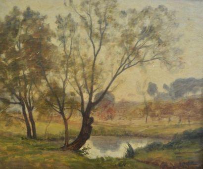 Paul SEBILLEAU (1847-1907) Bord d'étang Huile...