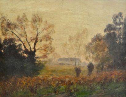 Paul SEBILLEAU (1847-1907) Paysage, soir...