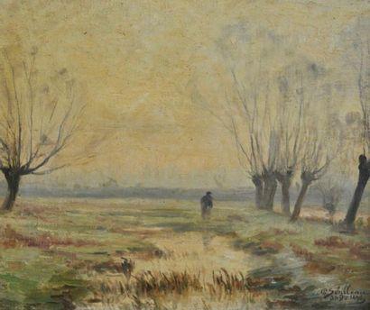 Paul SEBILLEAU (1847-1907) Homme devant l'étang...