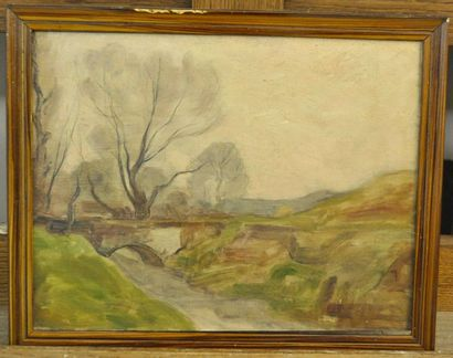 Paul SEBILLEAU (1847-1907) Paysage au pont...